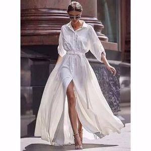 Solid Pockets Long Sleeve Maxi A-line Dress